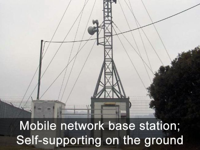 Mobile network base station - Self-supporting on the ground